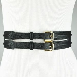 Black Gold Double Buckle Ridged Belt Large